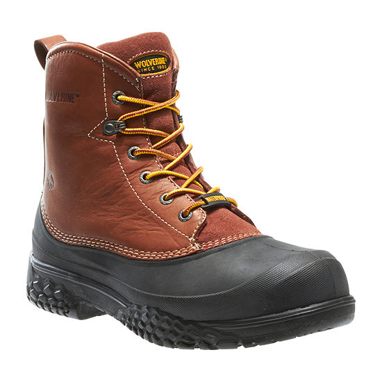 Wolverine Mens Swamp Monster Waterproof Slip Resistant Steel Toe Lace-up Work Boots