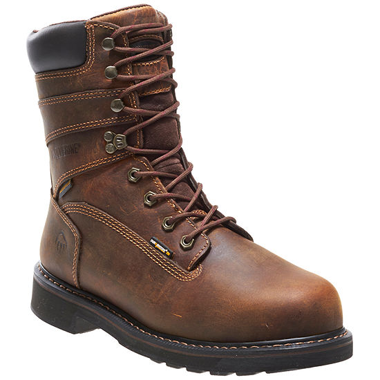 Wolverine Mens Durashocks Waterproof Slip Resistant Steel Toe Lace-up Work Boots