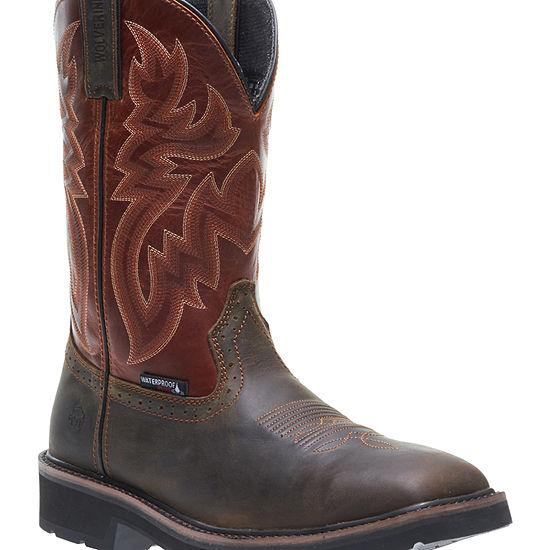 Wolverine Mens Rancher Waterproof Slip Resistant Steel Toe Pull-on Work Boots