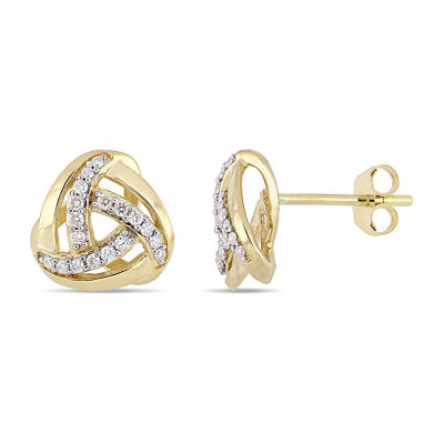 1/5 CT. T.W. Genuine White Diamond 10K Gold 10.4mm Stud Earrings