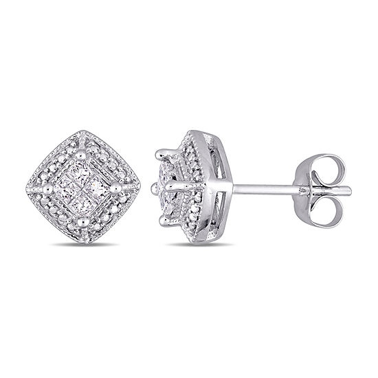 1/4 CT. T.W. Genuine White Diamond 10K White Gold 9mm Stud Earrings