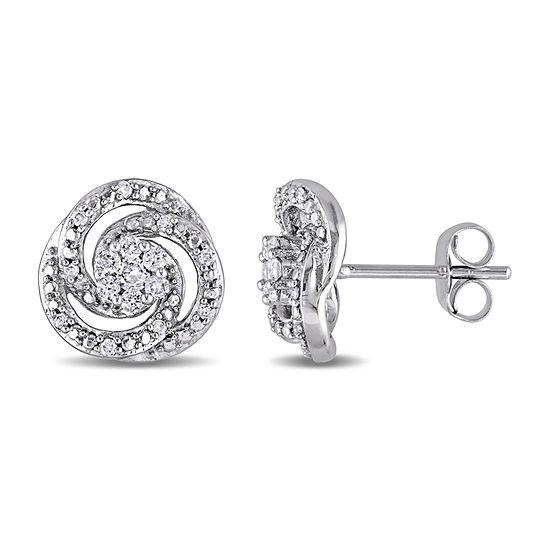 1/4 CT. T.W. Genuine White Diamond 10K White Gold 10.5mm Stud Earrings