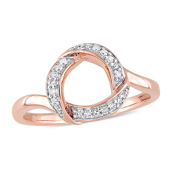 Womens 1/10 CT. T.W. Genuine White Diamond 10K Rose Gold Cocktail Ring