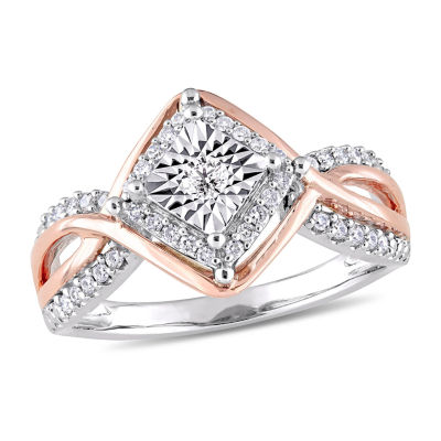 Womens 1/4 CT. T.W. Genuine White Diamond 10K Two Tone Gold Cocktail Ring
