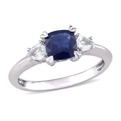 Modern Bride Gemstone Womens Genuine Blue Sapphire 14K White Gold Engagement Ring