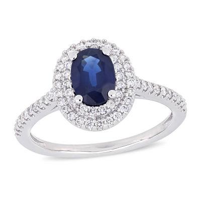 Modern Bride Gemstone Womens 1/3 CT. T.W. Genuine Blue Sapphire 14K White Gold Engagement Ring