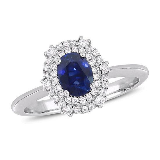 Modern Bride Gemstone Womens 1/4 CT. T.W. Genuine Blue Sapphire 14K White Gold Engagement Ring