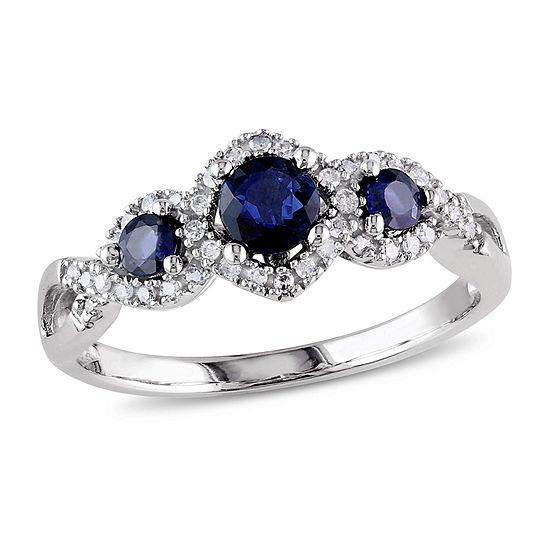 Modern Bride Gemstone Womens 1/8 CT. T.W. Genuine Blue Sapphire 10K White Gold Engagement Ring