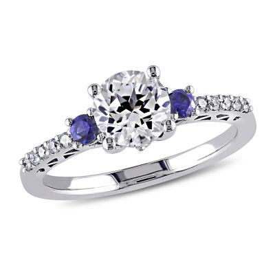 Modern Bride Gemstone Womens 1/10 CT. T.W. Lab Created White Sapphire 10K White Gold Engagement Ring