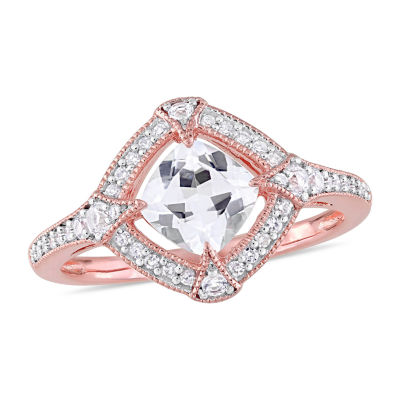 Modern Bride Gemstone Womens 1/6 CT. T.W. Lab Created White Sapphire 18K Rose Gold Over Silver Engagement Ring