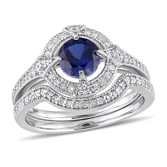 Modern Bride Gemstone Womens 1/3 CT. T.W. Lab Created Blue Sapphire Sterling Silver Bridal Set