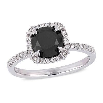 Womens 2 CT. T.W. Genuine Black Diamond 10K White Gold Engagement Ring