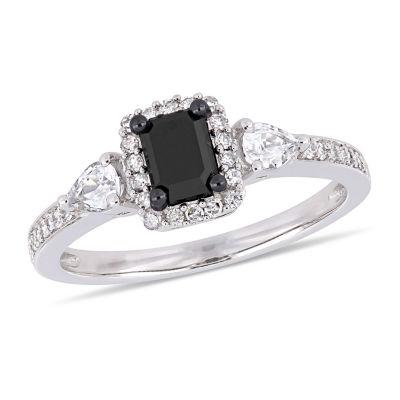 Modern Bride Gemstone Womens 7/8 CT. T.W. Genuine Black Diamond 10K White Gold Engagement Ring