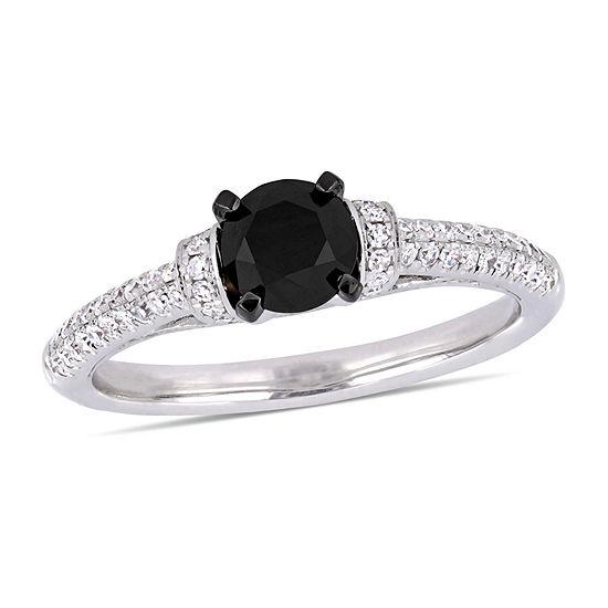 Womens 1 1/6 CT. T.W.  Genuine Black Diamond 14K White Gold Engagement Ring