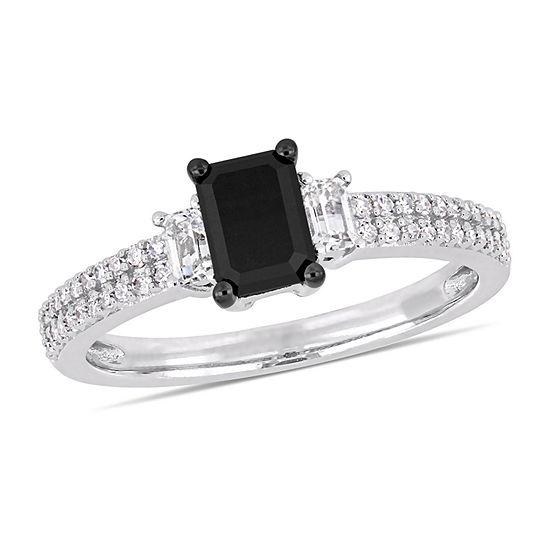Modern Bride Gemstone Womens 3/4 CT. T.W. Genuine Black Diamond 10K White Gold Engagement Ring