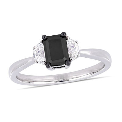 Midnight Black Womens 3/4 CT. T.W. Genuine Black Diamond 10K White Gold Engagement Ring