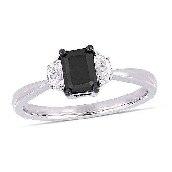 Midnight Black Womens 3/4 CT. T.W. Genuine Black Diamond 10K White Gold Engagement Ring