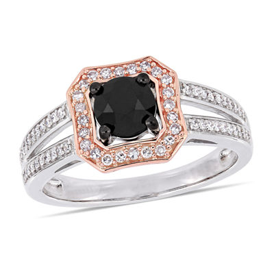 Womens 1 CT. T.W. Genuine Black Diamond 14K Two Tone Gold Engagement Ring