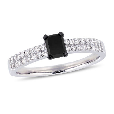Womens 3/4 CT. T.W. Genuine Black Diamond 14K White Gold Engagement Ring