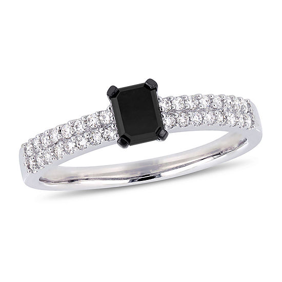 Womens 3/4 CT. T.W. Genuine Black Diamond 14K White Gold Engagement Ring