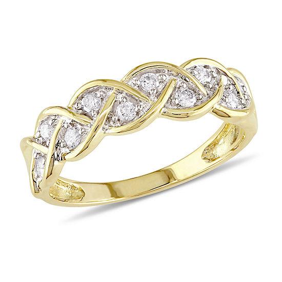 Womens 2MM 1/4 CT. T.W. Genuine White Diamond 10K Gold Anniversary Band