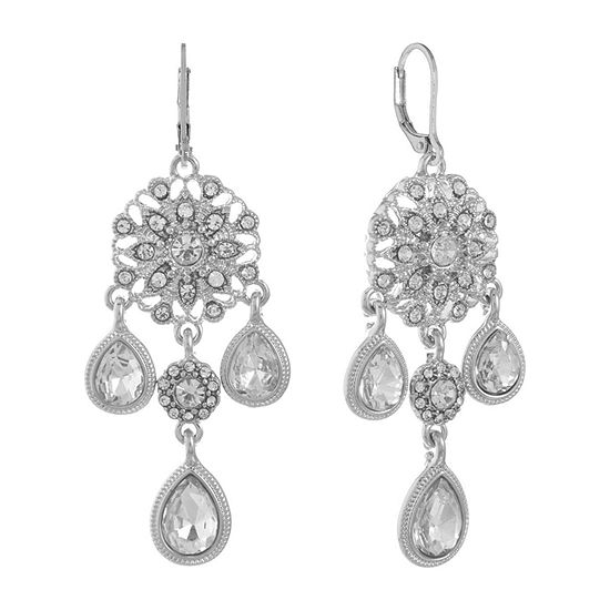 Monet Jewelry Clear Chandelier Earrings