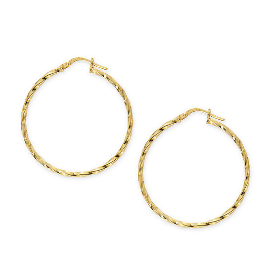 Made in Italy 24K Gold Over Silver Sterling Silver 35mm Hoop Earrings