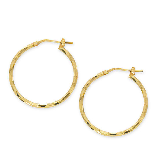 Made in Italy 24K Gold Over Silver Sterling Silver 25mm Hoop Earrings