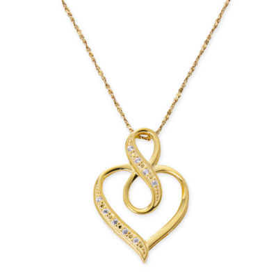 Made In Italy Womens 24K Gold Over Silver Sterling Silver Heart Pendant Necklace