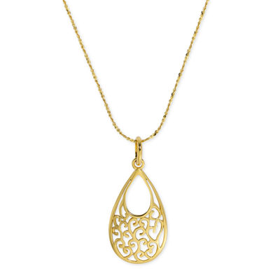 Made In Italy Womens 24K Gold Over Silver Sterling Silver Pendant Necklace
