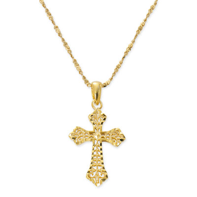 Made In Italy Womens 24K Gold Over Silver Sterling Silver Cross Pendant Necklace