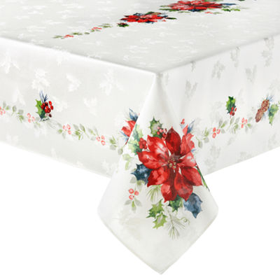 North Pole Trading Co. Watercolor Poinsettia Tablecloth