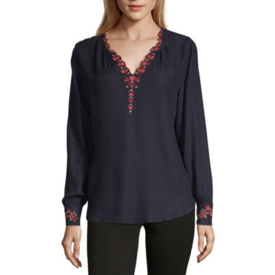 Liz Claiborne Long Sleeve V Neck Woven Embroidered Blouse
