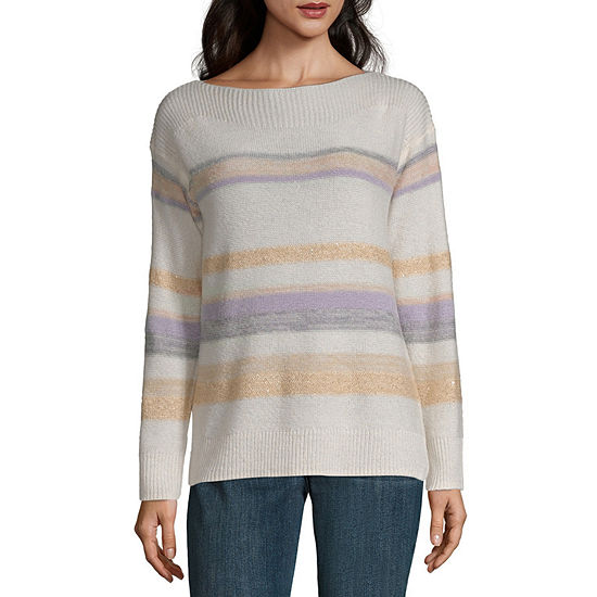 Liz Claiborne Womens Boat Neck Long Sleeve Striped Pullover Sweater