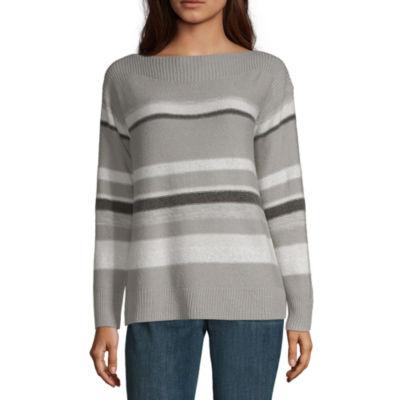 Liz Claiborne Womens Boat Neck Long Sleeve Stripe Pullover Sweater