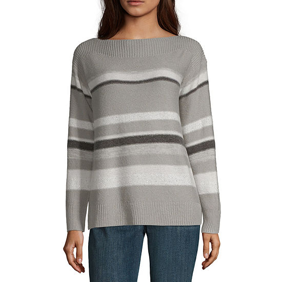 Liz Claiborne Womens Boat Neck Long Sleeve Stripe Pullover Sweater