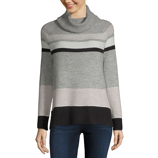 Liz Claiborne Womens Turtleneck Long Sleeve Stripe Pullover Sweater