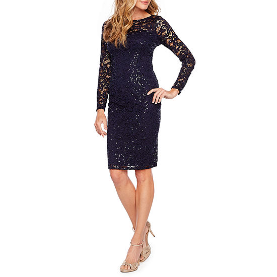Blu Sage Long Sleeve Sequin Lace Sheath Dress