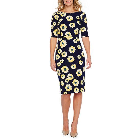 5edeffa943 Liz Claiborne Short Sleeve Floral Sheath Dress - JCPenney