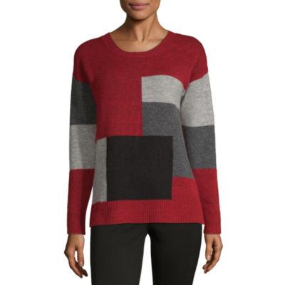 Liz Claiborne Womens Scoop Neck Long Sleeve Pullover Sweater