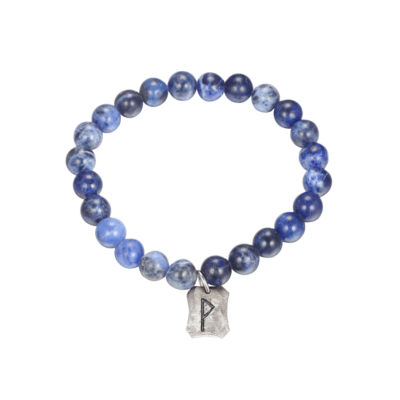 Footnotes Jp Army Sodalite Blue Silver Tone Stainless Steel Beaded Bracelet