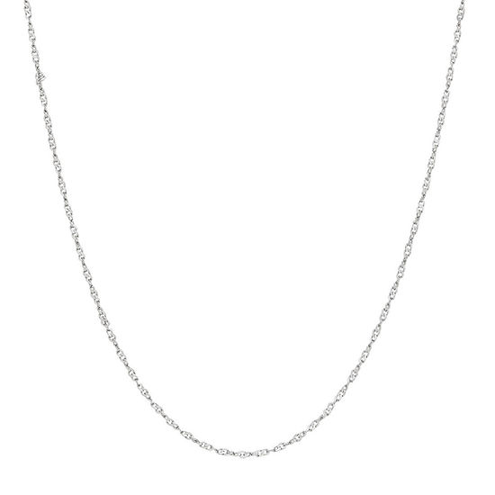"14K White Gold 1.2mm 16-24"" Twisted Singapore Chain Necklace"