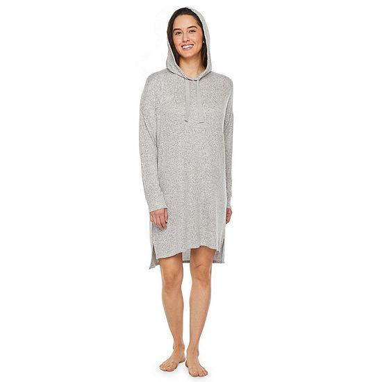Jaclyn Womens Knit Nightshirt Long Sleeve Hooded Neck