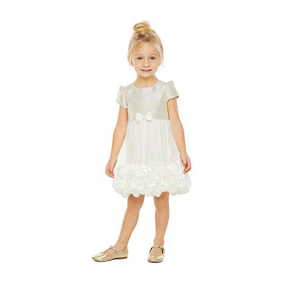 Nannette Baby - Toddler Girls Embellished Short Sleeve Fit & Flare Dress
