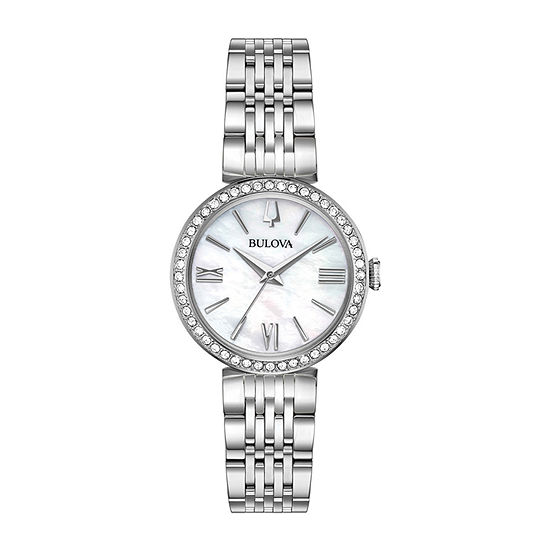 Bulova Womens Crystal Accent Silver Tone Stainless Steel 4-pc. Watch Boxed Set-96x149
