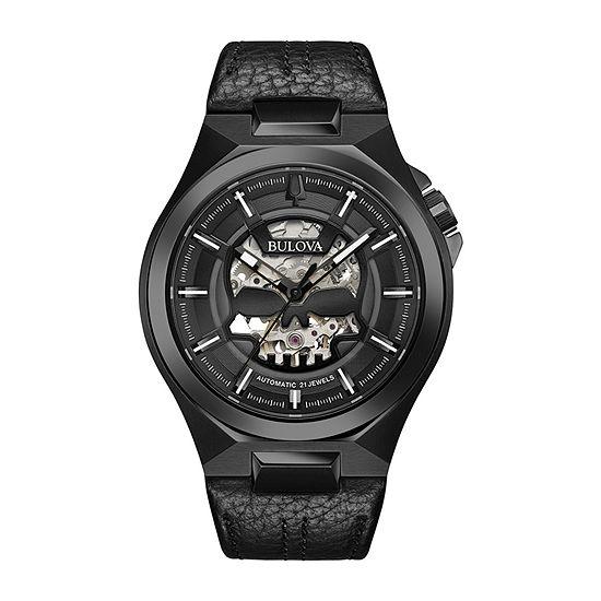 Bulova Maquina Mens Black Leather Strap Watch-98a238