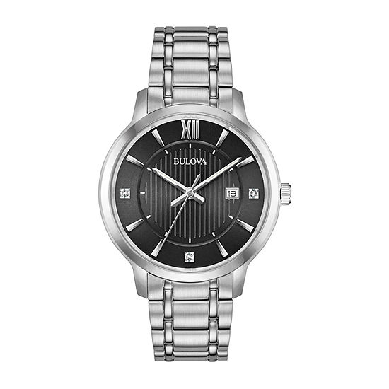 Bulova Mens Diamond Accent Silver Tone Stainless Steel Bracelet Watch-96d141