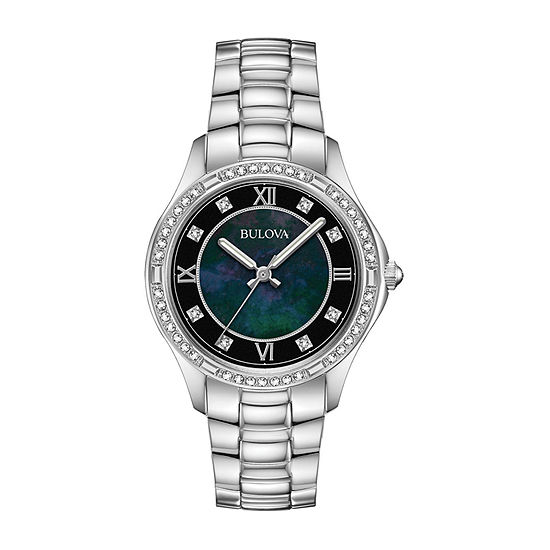 Bulova Womens Crystal Accent Silver Tone Stainless Steel Bracelet Watch-96l266