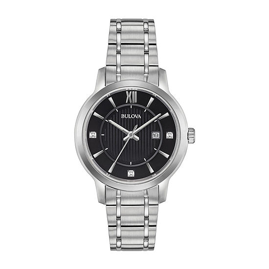 Bulova Womens Diamond Accent Silver Tone Stainless Steel Bracelet Watch-96p185