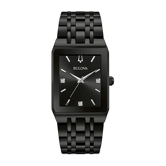 Bulova JCPenney Exclusive Mens Diamond Accent Black Stainless Steel Bracelet Watch-98d164